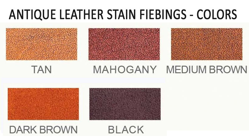 Antique Leather Stain Fiebings color chart / Patina liquida para cuero Fiebing carta de colores