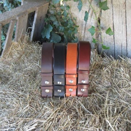 Cinturón cuero 3,5cm plata - varios colores